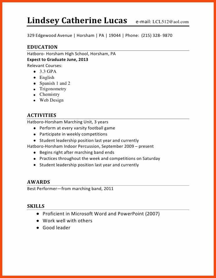 first job resume | program format