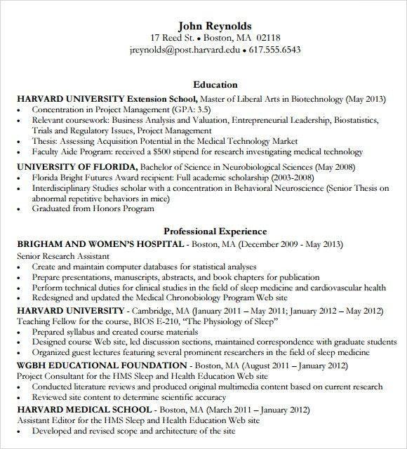 harvard resume format harvard business school resume template