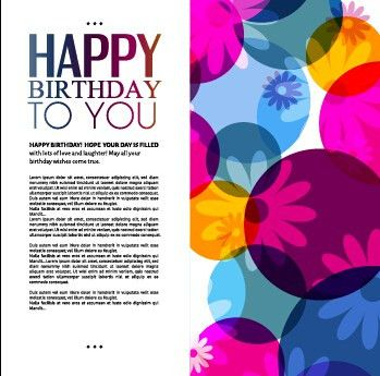 Template birthday greeting card vector material 06 - Vector ...