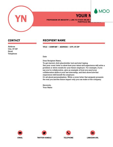 Polished cover letter, designed by MOO - Office Templates