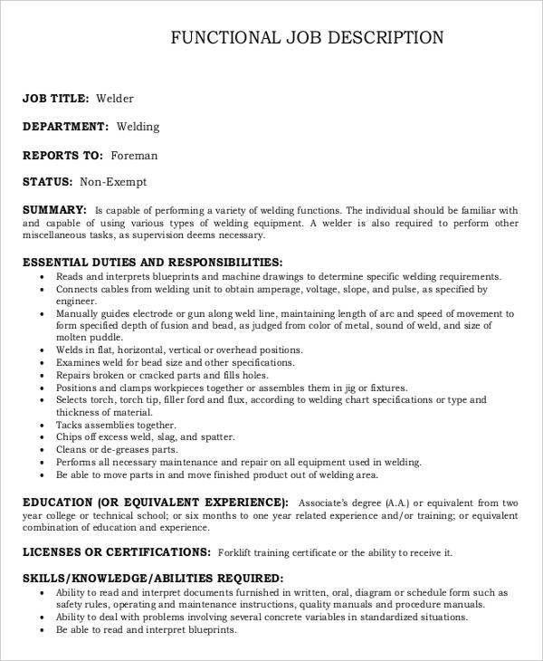 Welder Job Description. Welder Functional Resume Sample ...