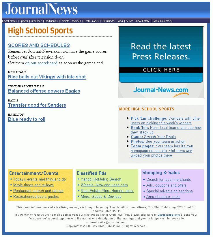Journal-News | High school sports sample newsletter