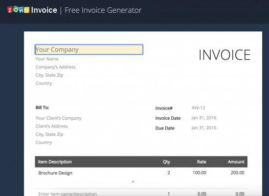 Free Online Invoice Generator | www.zoho.com