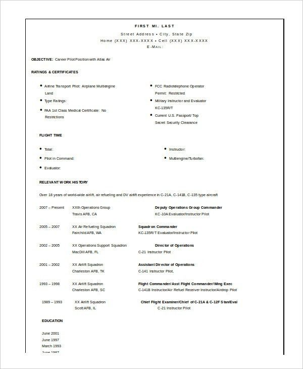 Airline Pilot Resume [Template.billybullock.us ]