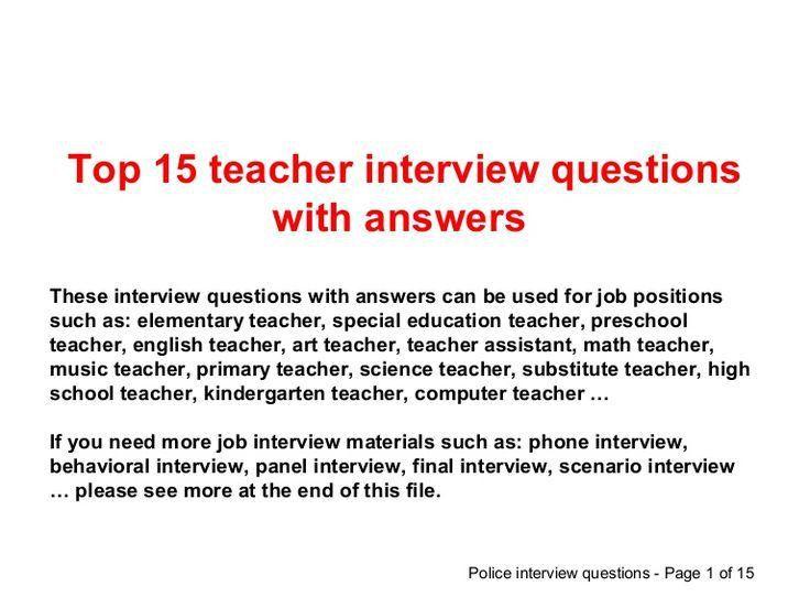 Best 25+ Teaching interview questions ideas on Pinterest | Teacher ...