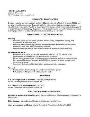Sample Teacher Resume No Experience - Gallery Creawizard.com