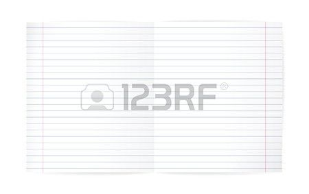 Lined Exercise Book And Red Margin. Double Pages Paper Sheet ...