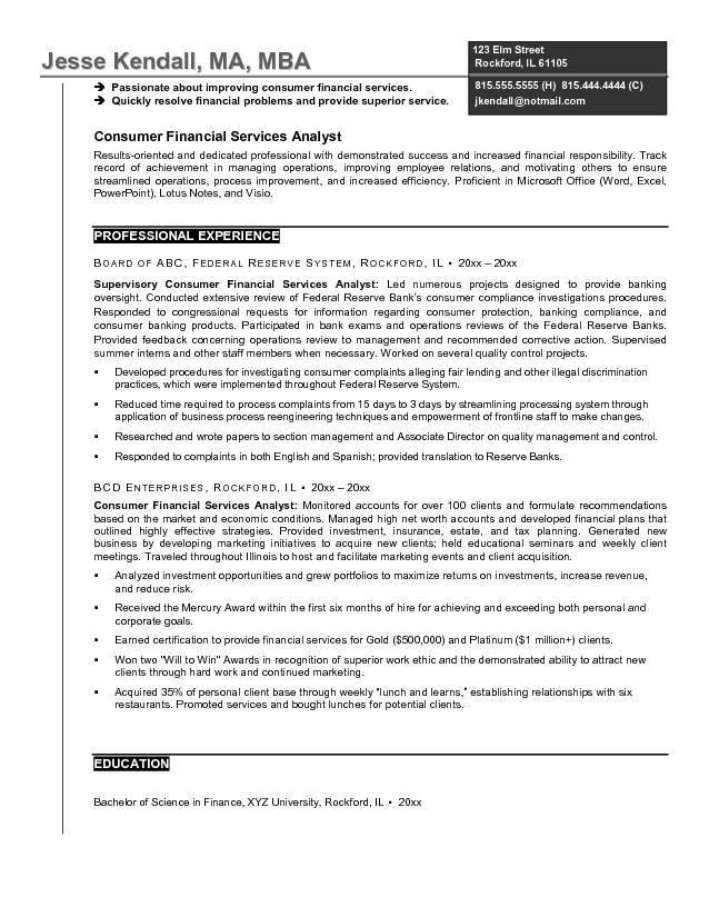 Sample Financial Analyst Resume Example 1 | ilivearticles.info