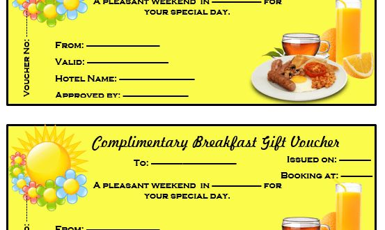 Complimentary Breakfast Gift Voucher Template – Microsoft Word ...