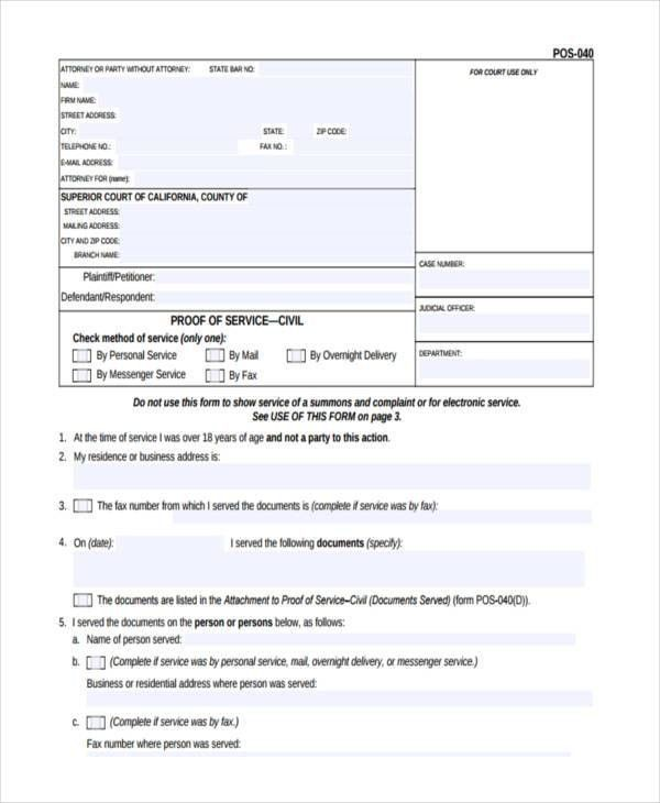 6+ Proof of Service Forms - Free Sample, Example Format Download