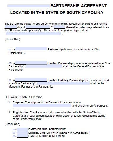 Free South Carolina Partnership Agreement Template | PDF | Word |
