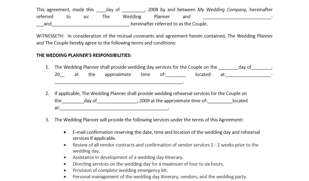 wedding planner contract guide chic wedding planner day of get - Sample Wedding Planner Contract