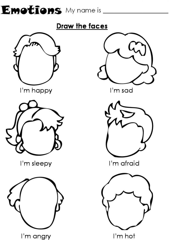 worksheet Emotions Worksheet worksheet for children draw the faces emotions faces
