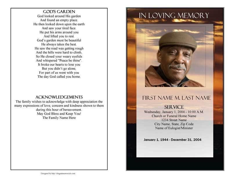 Funeral Program Template | Brown Sunset