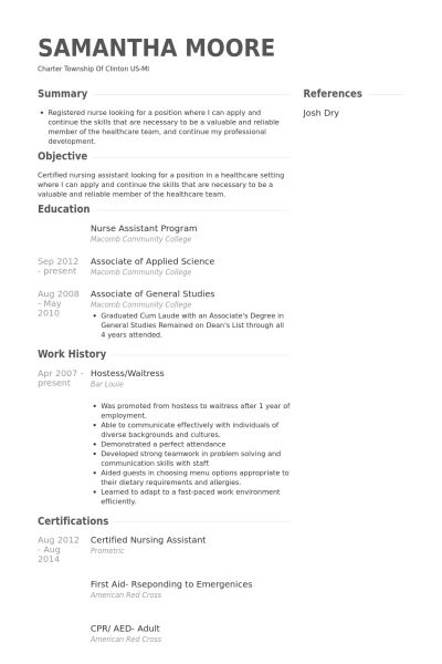 Hostess/Waitress Resume samples - VisualCV resume samples database