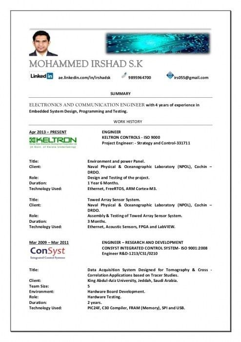 Amazing Best Resume Format For Electronics Engineers | Resume ...