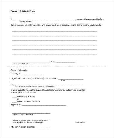 Free Affidavit Form Samples - 29+ Free Documents in Word, PDF