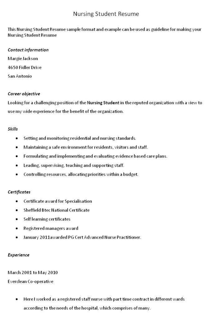 Sample Nursing Student Resume. nursing student resume sample ...