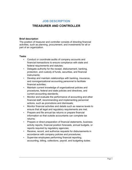 Treasurer and Controller Job Description - Template & Sample Form ...