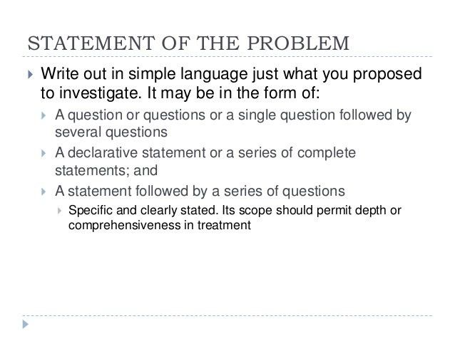 Thesis problem statement example