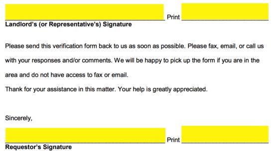 Free Rent (Landlord) Verification Form - PDF | Word | eForms ...
