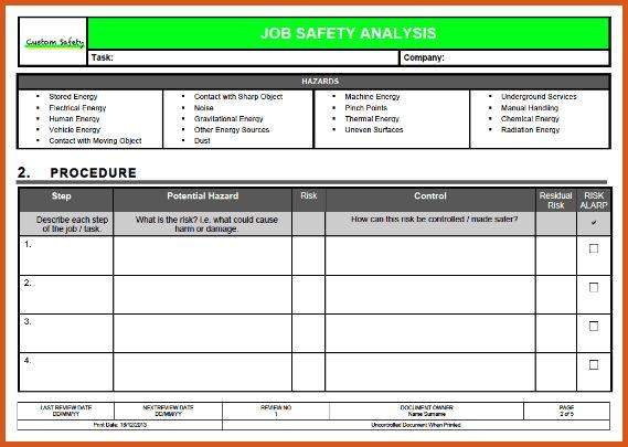 job hazard analysis form   general resumes