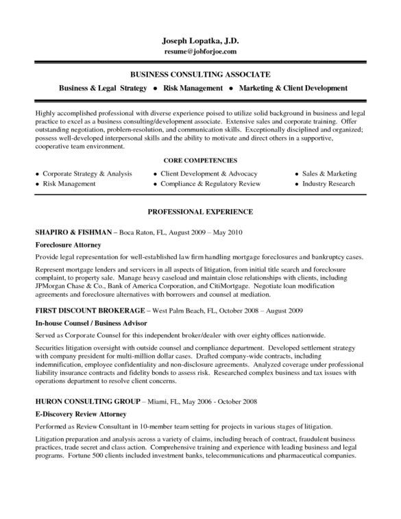 Example Business Consulting Associate and Core Competencies ...