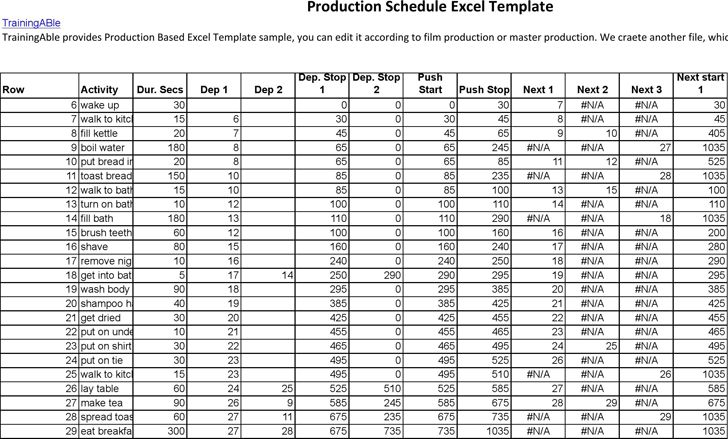 production schedules excel