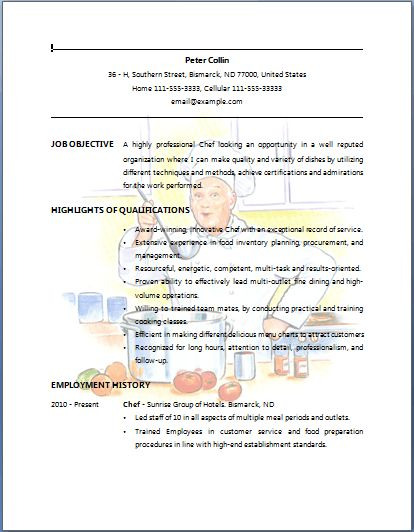 chef de cuisine resume samples. chef resume sample examples sous ...