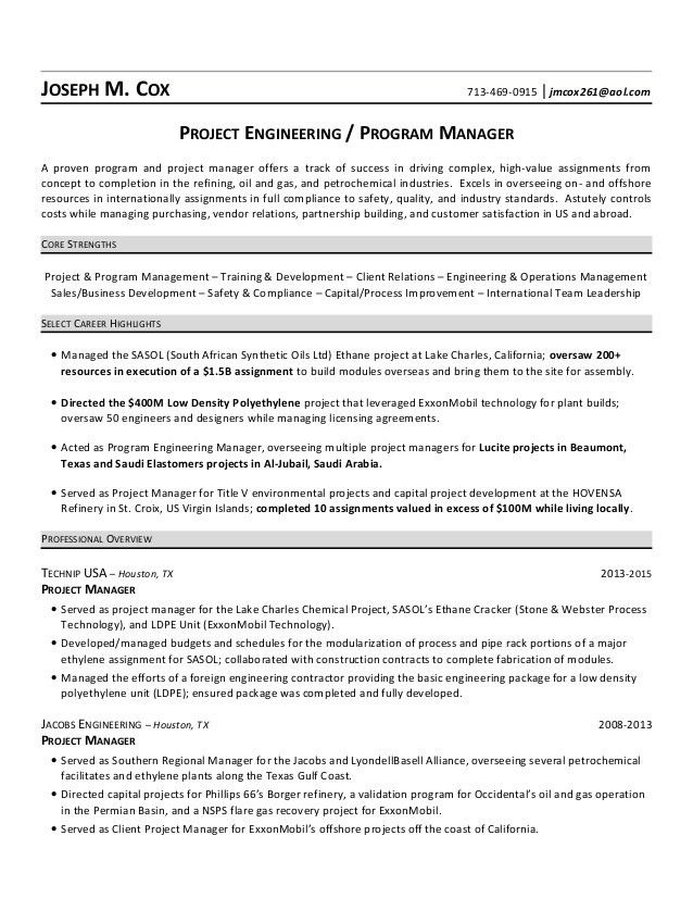 Petrochemical or Refinery Project Manager Resume