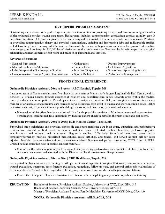 Physician Assistant Sample Resume   Experience Resumes