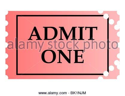 A pink cinema ticket to admit one adult isolated on a white Stock ...