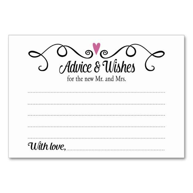 Two Hearts Advice and Wishes Wedding Card | Zazzle.com