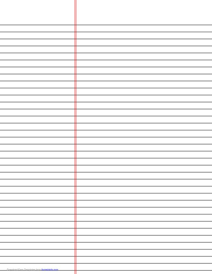 Law Ruled Paper Template (Black Lines) Free Download