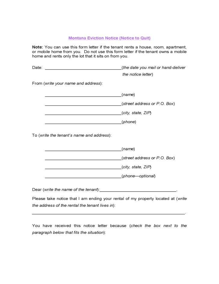 Montana Eviction Notice (Notice to Quit) Free Download