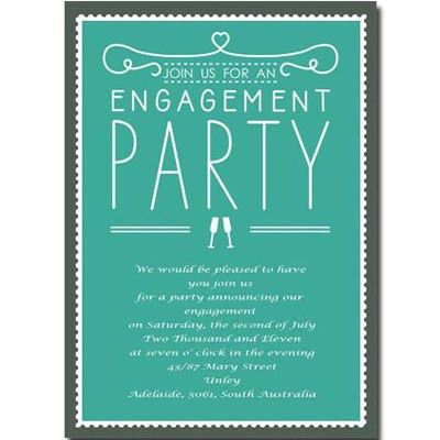 Green Engagement Party Invitations AUE016 | / graphic design ...