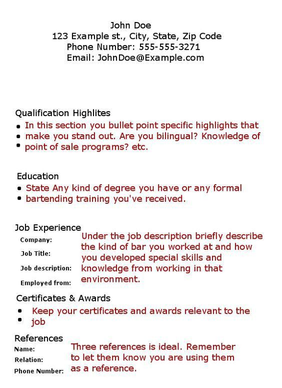 Bartender Cover Letter No Experience Sample Cover Letter Examples ...