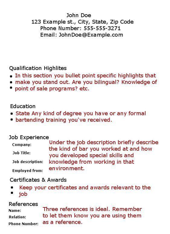 Bartending Resume No Experience 17385 | Plgsa.org