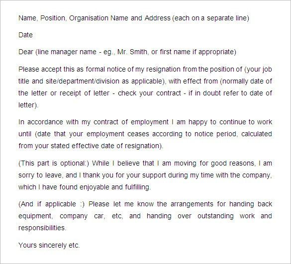 Notice Period Resignation Letter. Sample Notice Of Staff ...