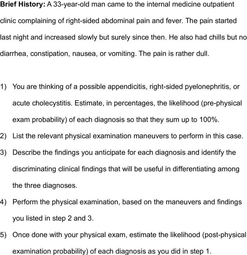 Example of a case scenario for Abdominal Pain