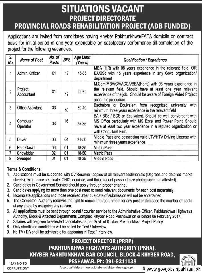 Pakhtunkhwa Highways Authority PKHA Job, Admin Officer, Project ...
