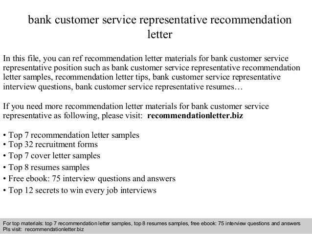 Bank customer service representative recommendation letter