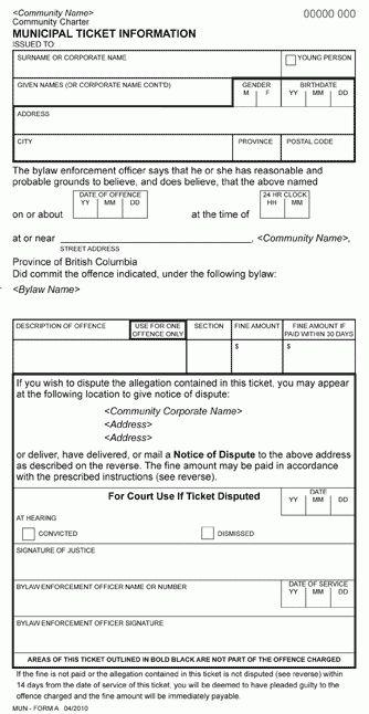 Community Charter Bylaw Enforcement Ticket Regulation