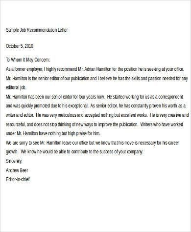Job Recommendation Letter. Example Of Recommendation Letter For ...