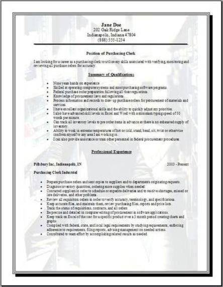Purchasing Resume, Occupational:examples,samples Free edit with word