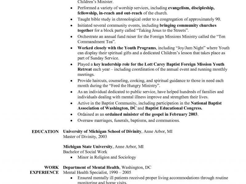 Ministry Resume Template. resume sample cover letter for bank ...