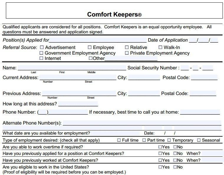 Comfort Keepers Job Application   Printable Job Employment Forms