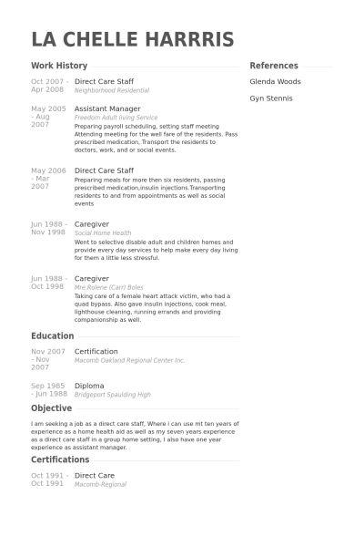 Direct Care Staff Resume samples - VisualCV resume samples database