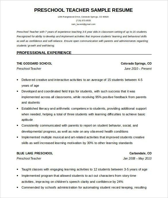 Free Sample Resume For Teachers - Best Resume Collection