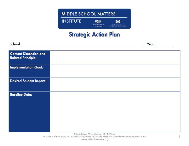 Action Plan Templates - PDF and fixable forms from Middle School ...